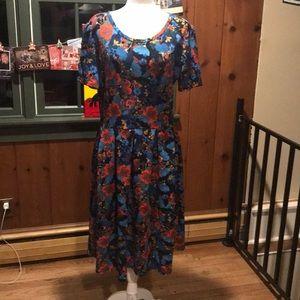 EUC Black Background Floral Lularoe Amelia Dress